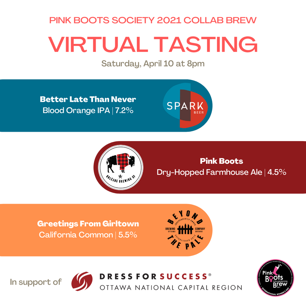 Pink Boots Society 2021 Collaboration Brew - Tasting Event (PICK UP ONLY).