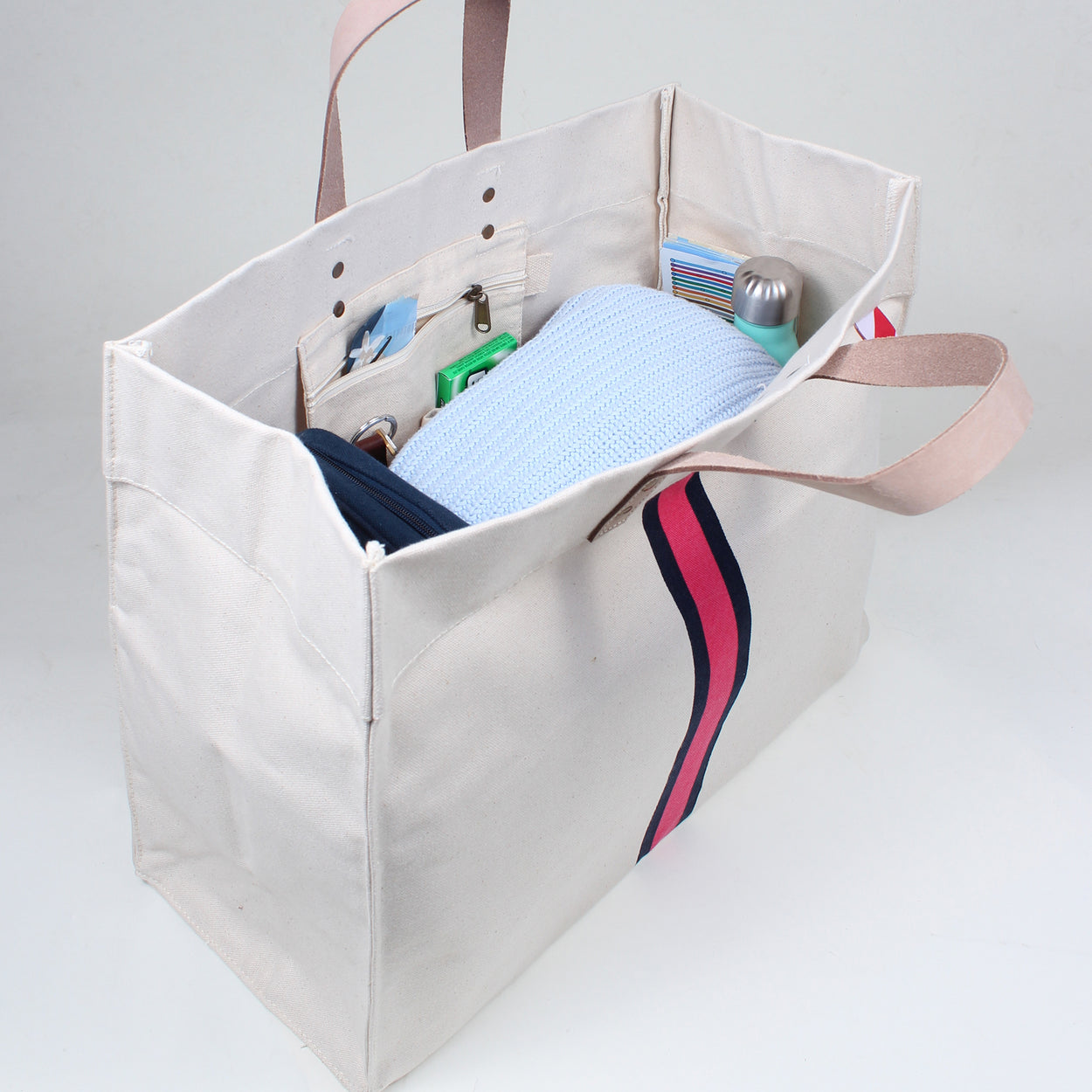 Striped Box Tote