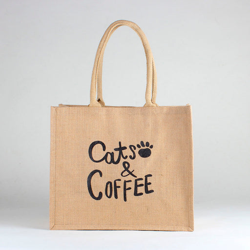 Jute Market Cats & Coffee Bag