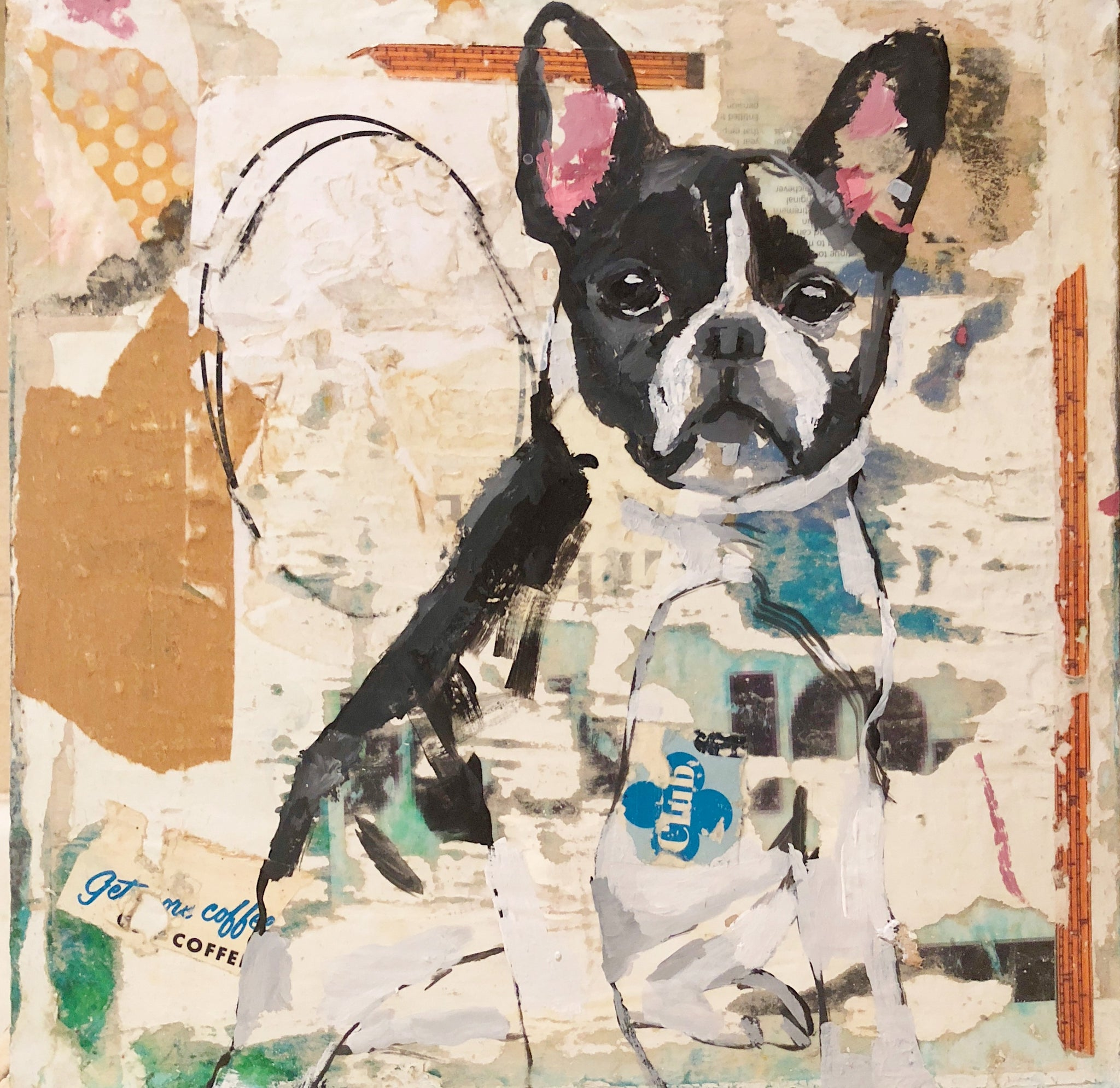 12x12 mixed media abstract dog painting in acrylic paint and collage.