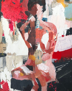 Mixed media abstract nude in acrylic and collage