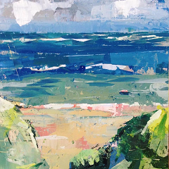 Semi abstract mixed media seascape painting workshop in acrylic paint.