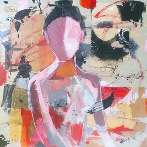 Mixed media abstract nude painting in acrylic and collage.