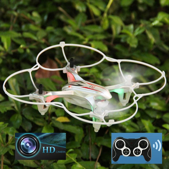 Mini RC Quadcopter Drone 2.4GHz 4CH 6-Axis Gyro 3D UFO With Camera HD 2.0MP Headless