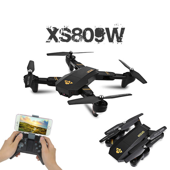 Mini Foldable Quadcopter with Camera RC Drone XS809W XS809HW, Wifi FPV 0.3MP or 2MP Altitude Hold