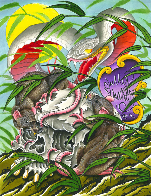 Kelly Edwards - Skull and Snake (Watercolor)