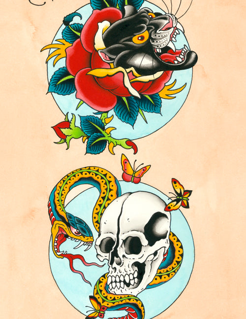Devin Burnett - Panther, Snake And Skull (Watercolor)