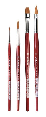 da Vinci Watercolor Set 5231A2 • Cosmotop Spin Synthetic Round, Flat & Cats Tongue • 4 Brush Set