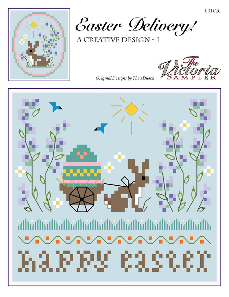 The Victoria Sampler - An Easter Delivery - PDF Downloadable Chart  - needlework design company
