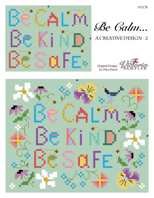 The Victoria Sampler - Be Calm - PDF Downloadable Chart  - needlework design company