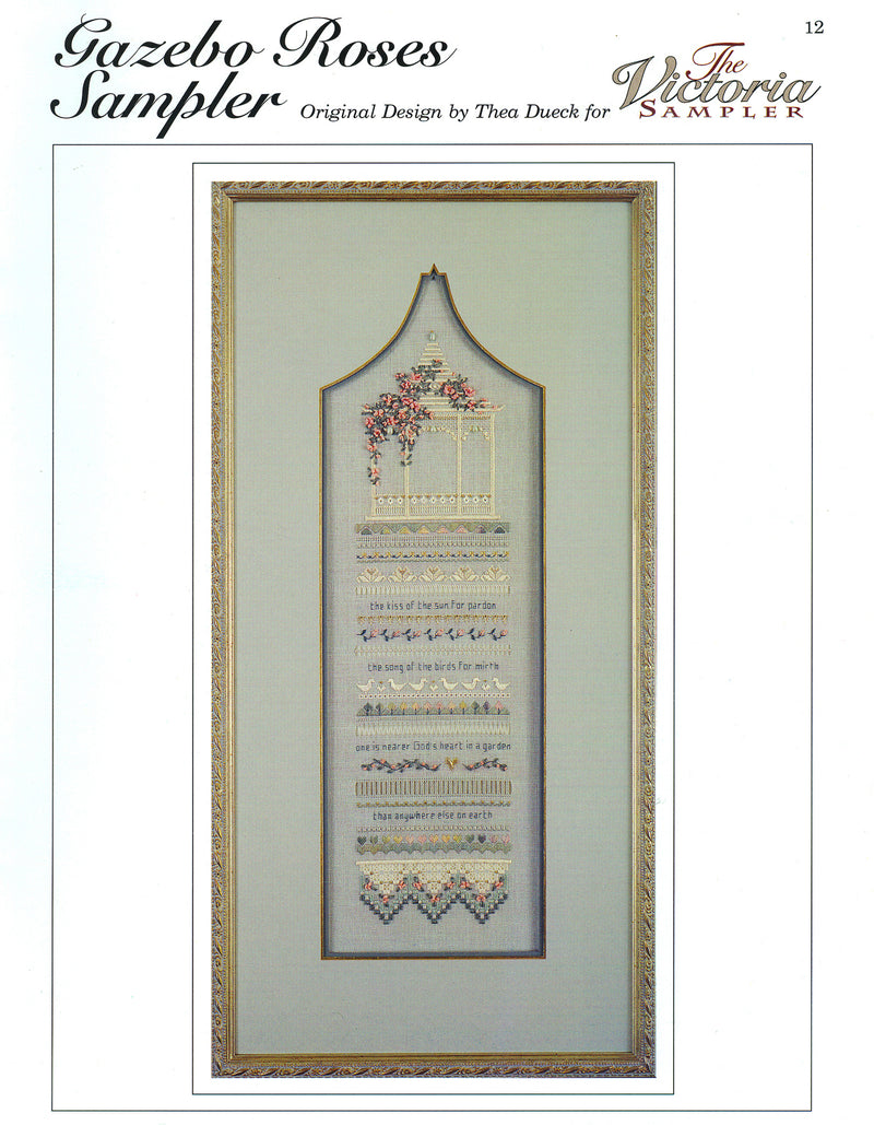 The Victoria Sampler - Gazebo Roses Sampler Leaflet  - needlework design company