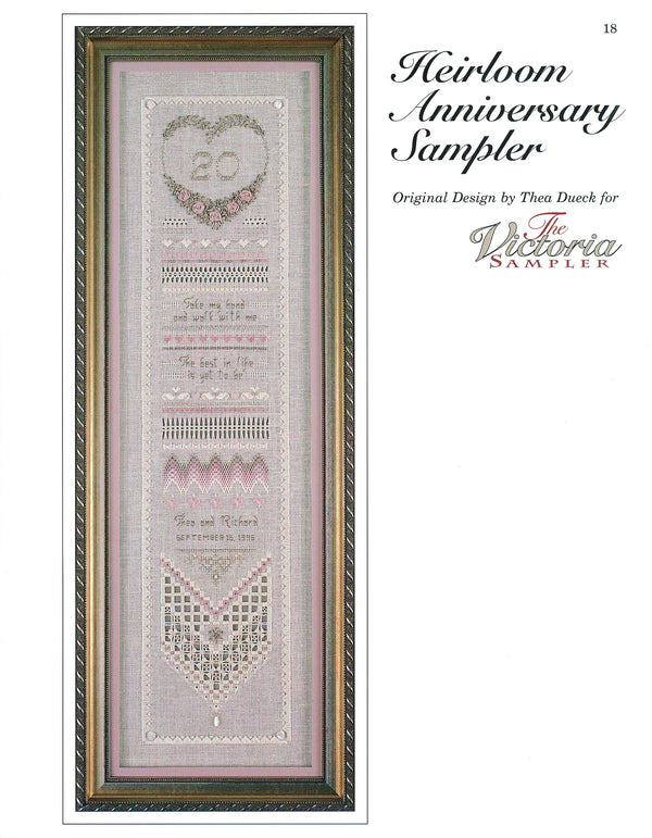 The Victoria Sampler - Heirloom Anniversary Sampler Leaflet  - needlework design company