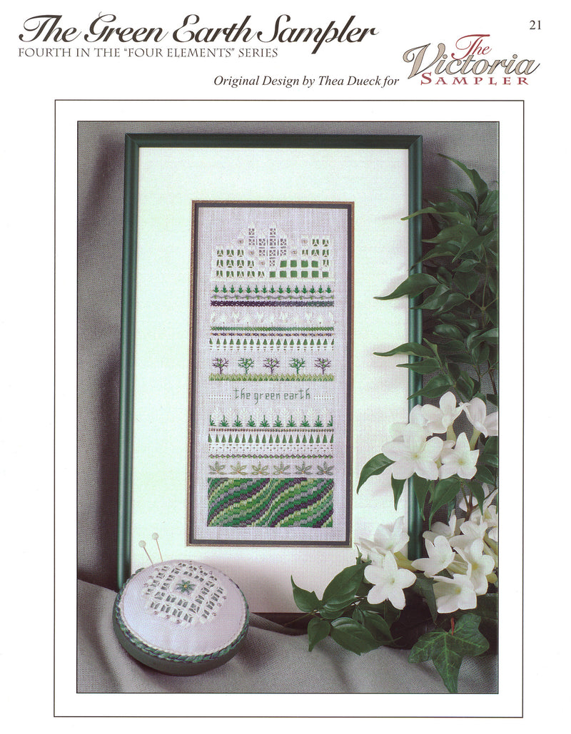 The Victoria Sampler - Green Earth Sampler Leaflet  - needlework design company