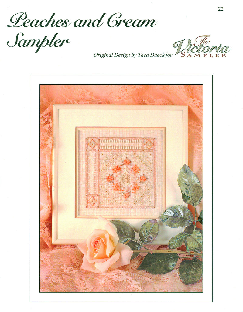 The Victoria Sampler - Peaches and Cream Sampler Leaflet  - needlework design company