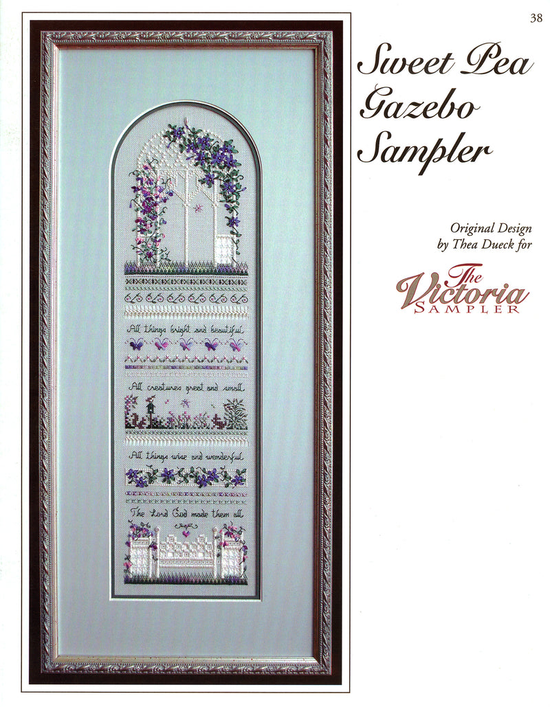 The Victoria Sampler - Sweet Pea Gazebo Sampler Leaflet  - needlework design company