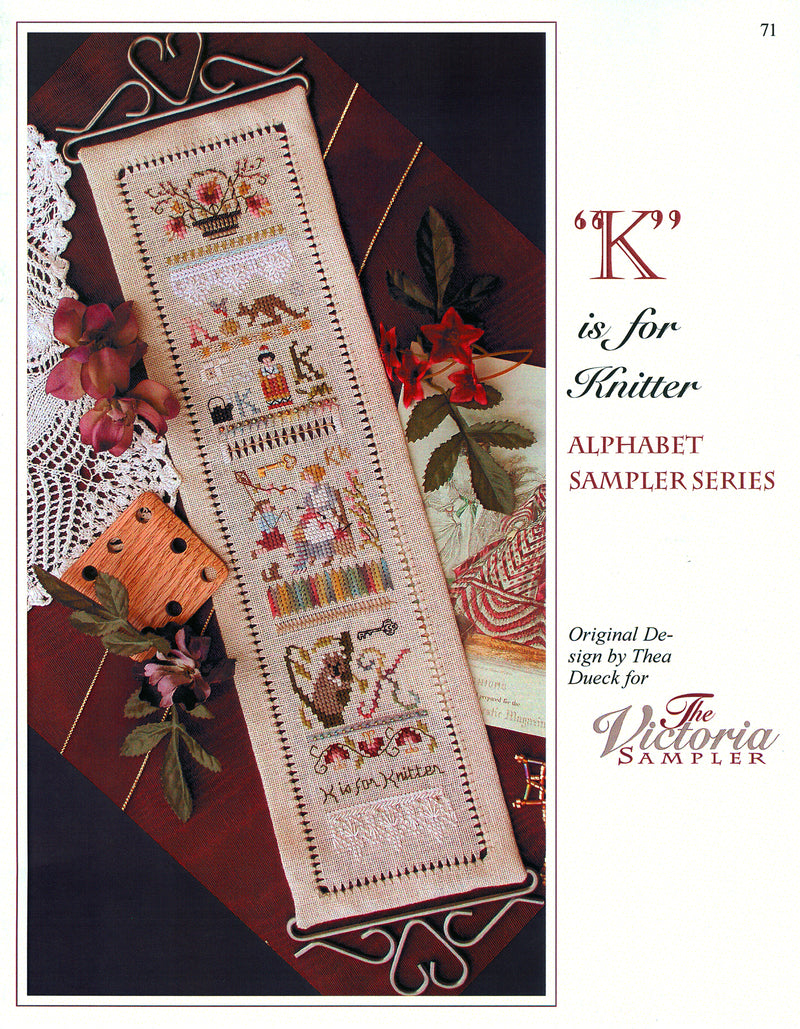 K is for Knitter Alphabet Sampler Leaflet