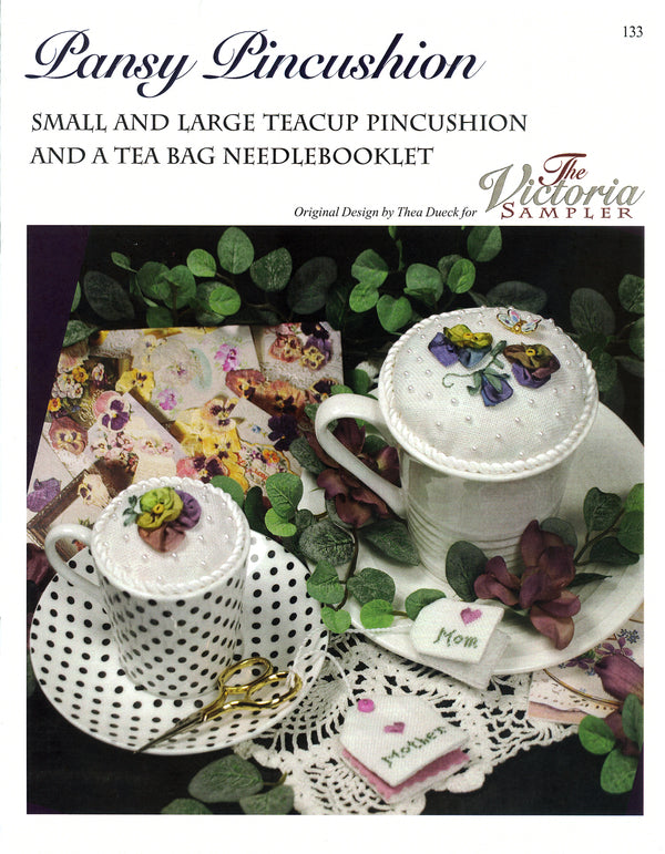 The Victoria Sampler - Pansy Pincushion Leaflet  - needlework design company