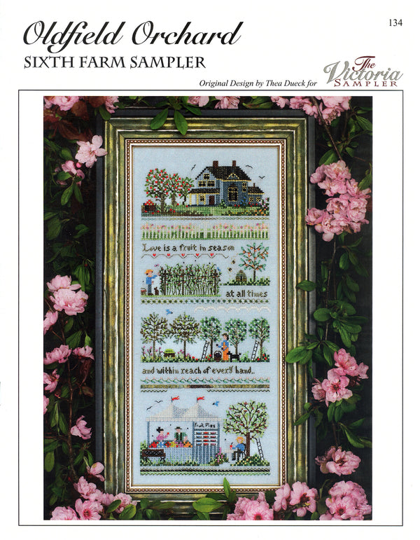 The Victoria Sampler - Oldfield Orchard Small Farm Sampler Leaflet  - needlework design company