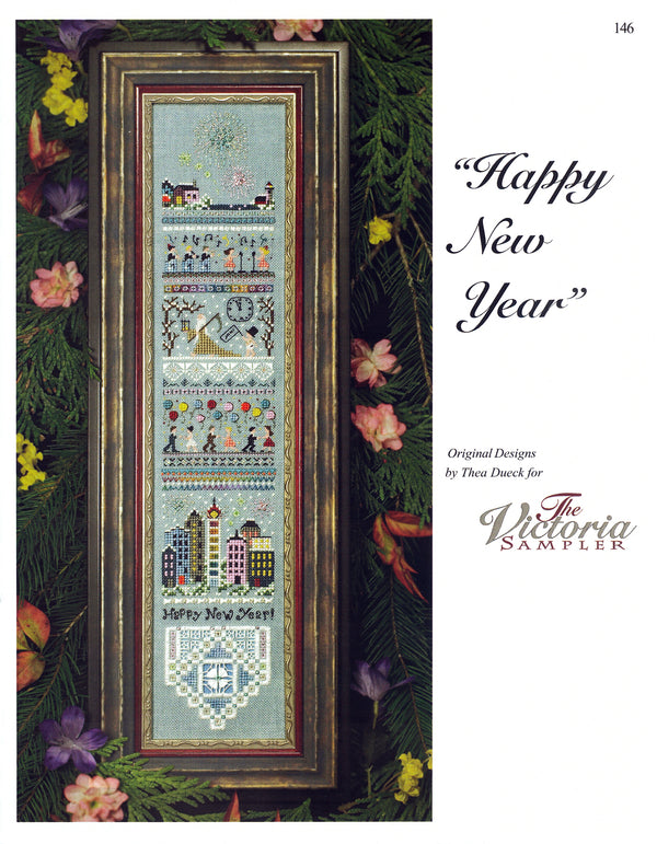 The Victoria Sampler - Happy New Year Sampler Leaflet  - needlework design company