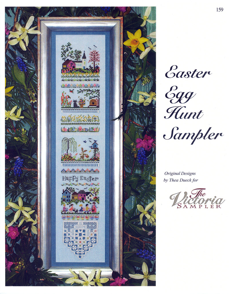 The Victoria Sampler - Easter Egg Hunt Sampler Leaflet  - needlework design company