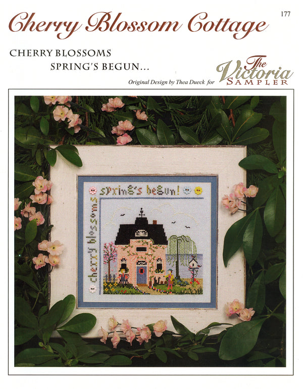 The Victoria Sampler - Cherry Blossom Cottage Sampler Leaflet  - needlework design company