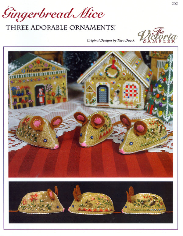The Victoria Sampler - Gingerbread Mice Leaflet  - needlework design company
