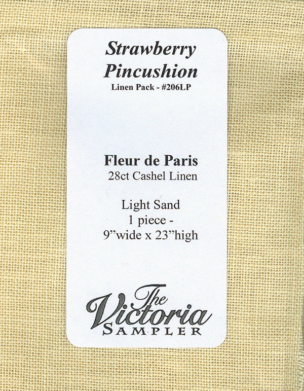 The Victoria Sampler - Strawberry Pincushion Linen Pack  - needlework design company