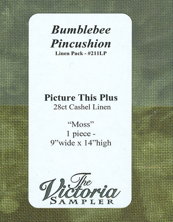 The Victoria Sampler - Bumblebee Pincushion Moss Linen AccPack  - needlework design company