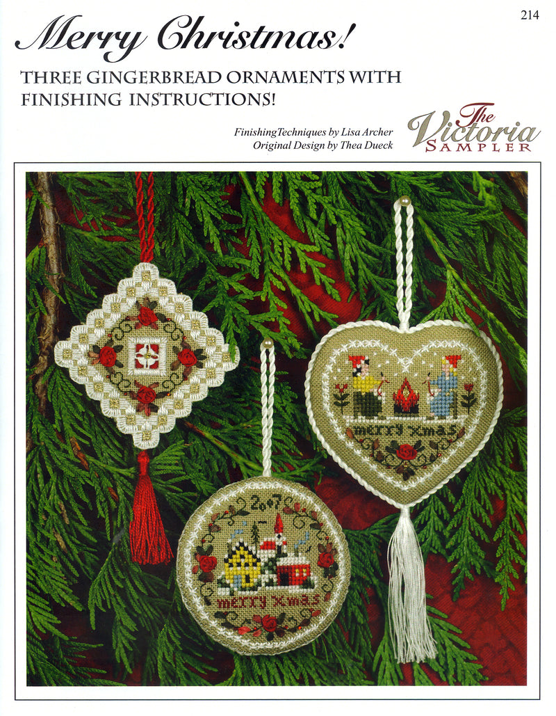 "The Victoria Sampler - Gingerbread ""Merry Christmas"" Ornaments Leaflet  - needlework design company"