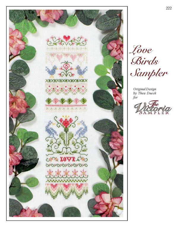 The Victoria Sampler - Love Birds Sampler Leaflet  - needlework design company