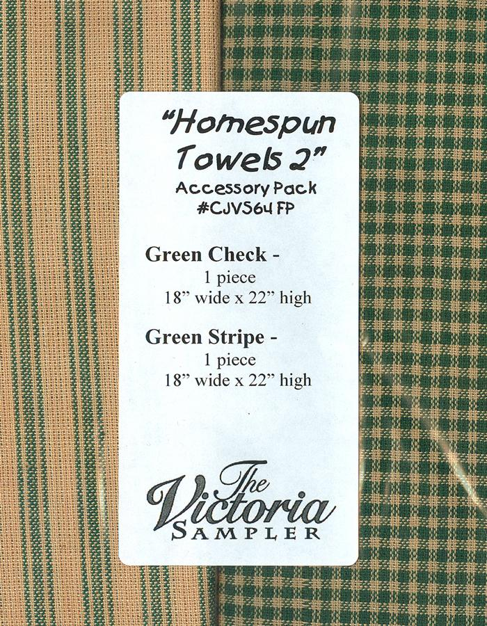 The Victoria Sampler - Homespun Towels 2 Finishing Fabric AccPack  - needlework design company