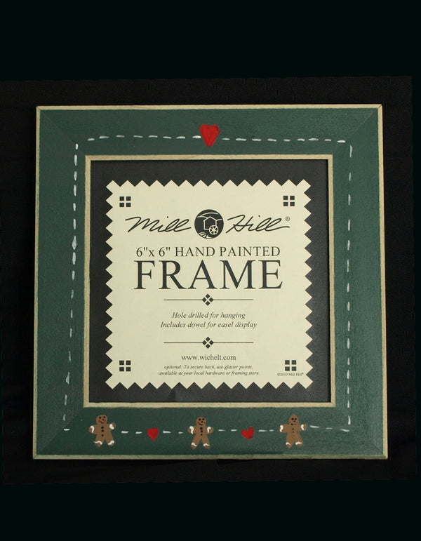 The Victoria Sampler - Gingerbread Hearts Matte Green Frame (S_NE)  - needlework design company