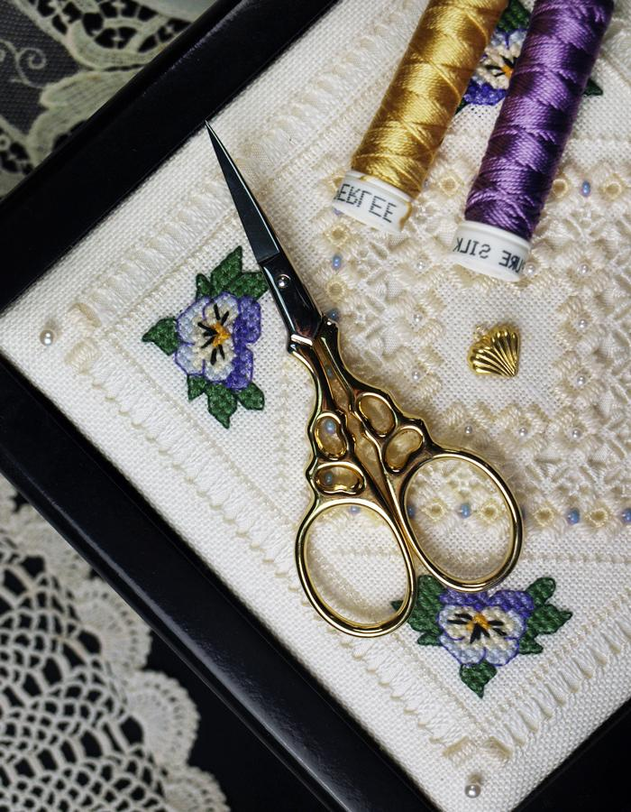 "The Victoria Sampler - Arabesque 3.5"" Bohin Hardanger Scissors - gold  - needlework design company"