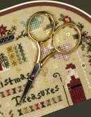 "The Victoria Sampler - Large Handles 3.5"" Bohin Hardanger Scissors – metallic gold  - needlework design company"