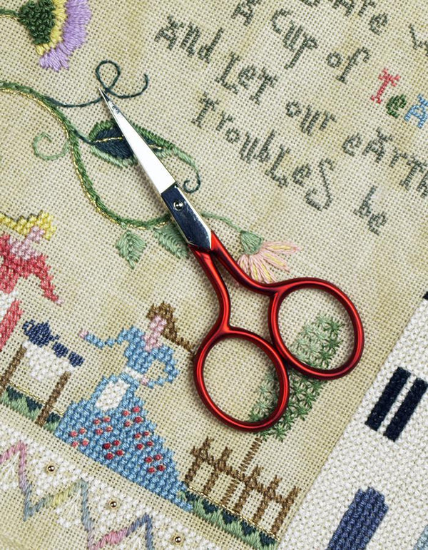 "The Victoria Sampler - Soft Touch 3.5"" Bohin Hardanger Scissors - red  - needlework design company"