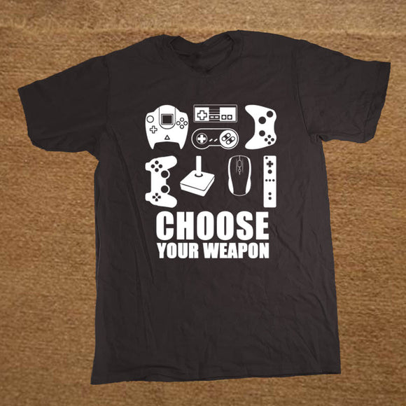 New Summer Men's T-shirt Choose Your Weapon Gamer T Shirt Video Game Controller Tee Cotton Short Sleeve Tshirt