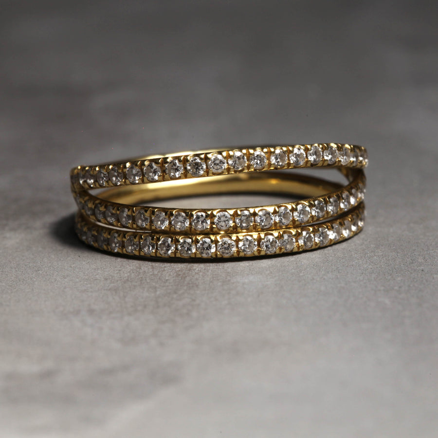 GRACE RING - YELLOW GOLD WITH WHITE DIAMONDS