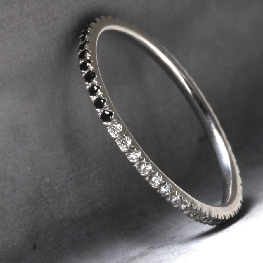 MADISON ETERNITY BAND - WHITE GOLD WITH WHITE AND BLACK DIAMONDS
