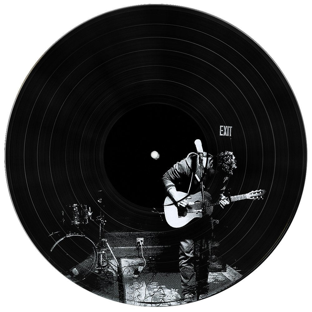 Vinyl Record with Imposed Photo depicting a Guitar Player On a Dark Stage - Vinyl Record Wall Art