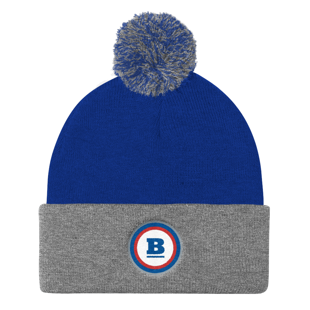 Pom Knit Beanie - Grey/Royal