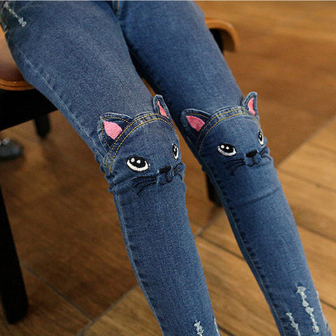 Lovely Cat High Quality Jeans for Kids