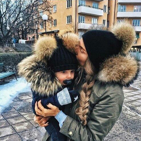 2 PCS Set Family Matching Winter Hat