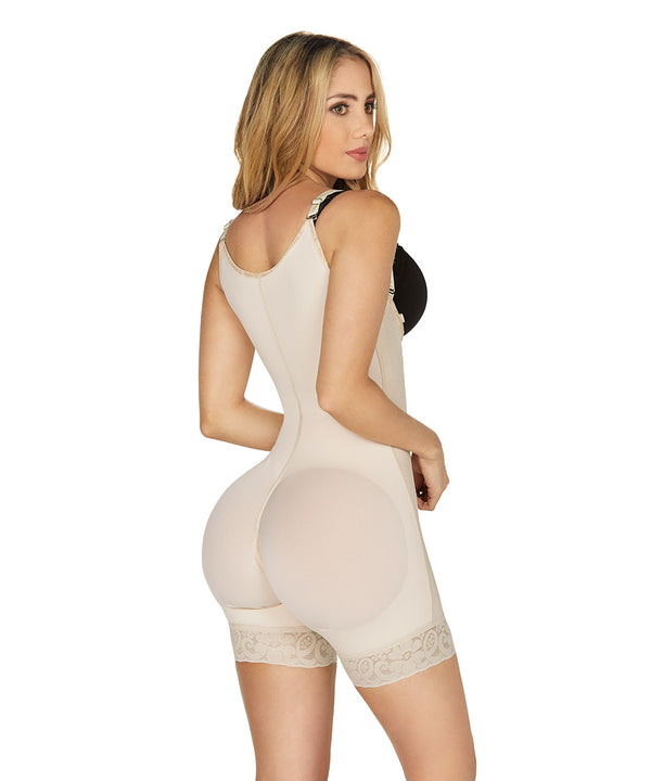 Post Op girdle Medium Compression , Open Bust Bodysuit Mid Thigh , Straps , Side Zipper ( Ref. C-001 )
