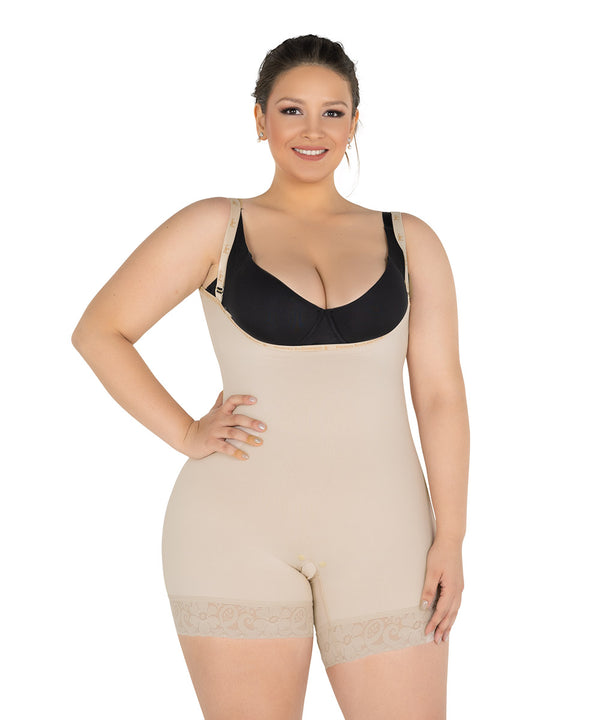 Open Bust Bodysuit Mid Thigh , No zipper and lifts the buttoks ( Ref. C-040 )