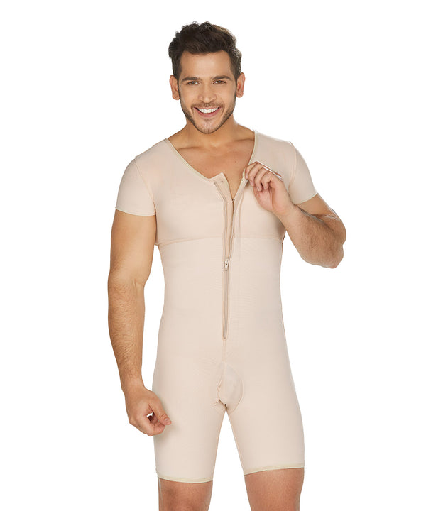 Mid Thigh Bodysuit , Posture Corrector, Short Sleeves , Center Zipper,  For Men ( Ref. H-001 )