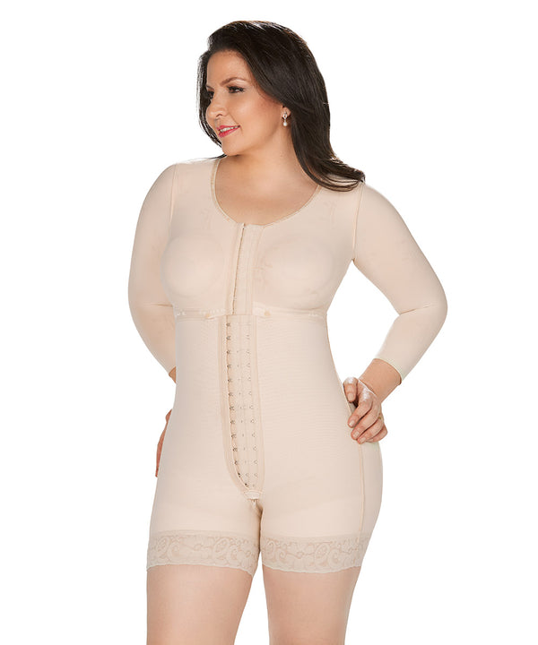 Bodysuit Mid Thigh With Bra, Long Sleeves , Centrar Clasps , Perineal Zipper, Post Op ( Ref. O-093 )