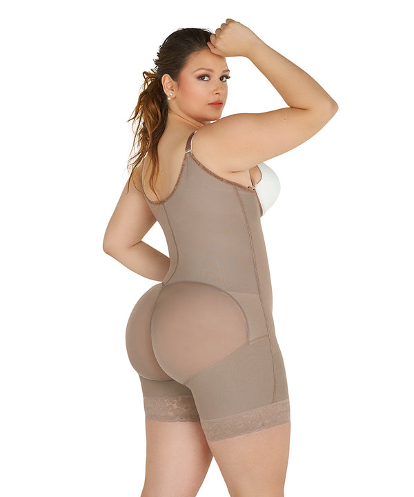 Open Bust Bodysuit Mid Thigh, Straps ,Side Zipper, Cocoa ( Ref. P-010 )