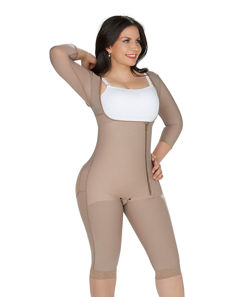 bodyshaper, Open Bust Bodysuit Knee, Long Sleeves , Side Zipper, Cocoa ( Ref. P-024 )