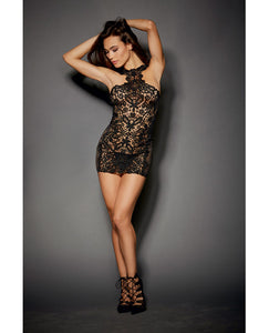 Lace & Stretch Spandex Mesh Versatile Chemise w/Adjustable Ribbon & G-String Black XL