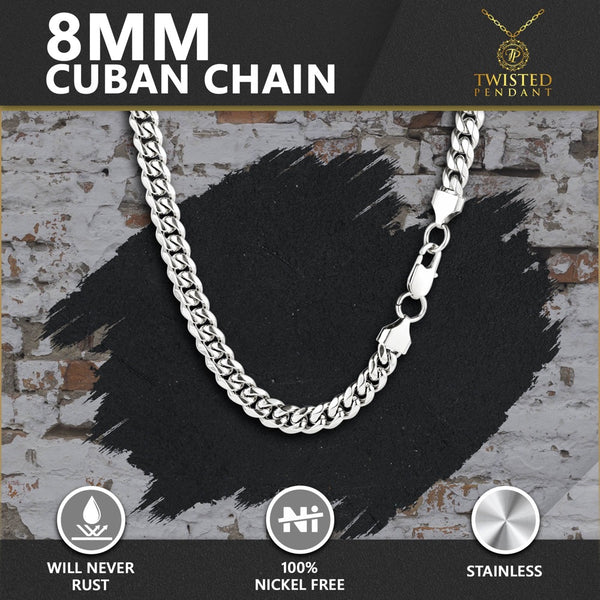 Silver Thick Cuban Curb Chain (8MM) - Twistedpendant